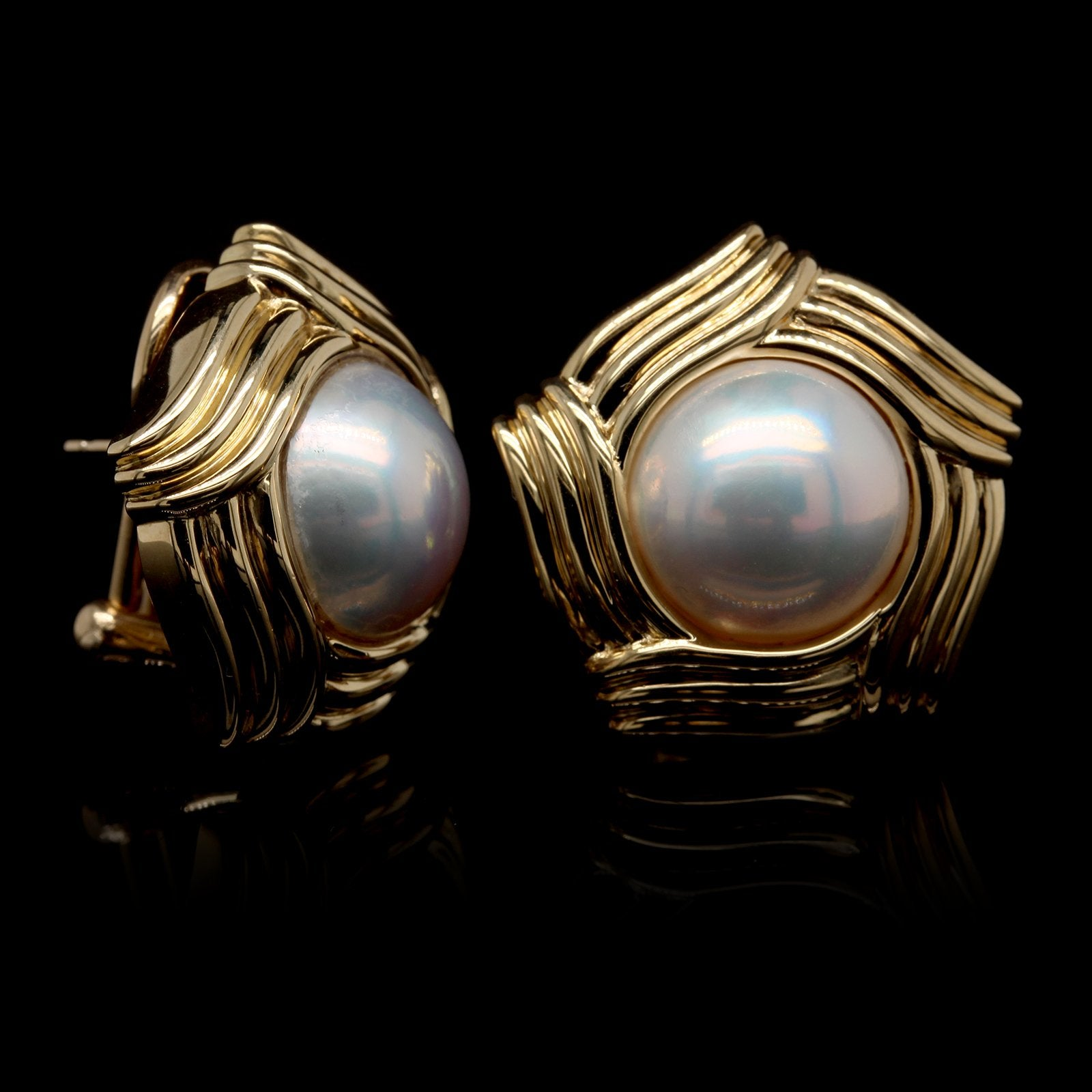 18K Yellow Gold Estate Cultured Mabe Pearl Earrings