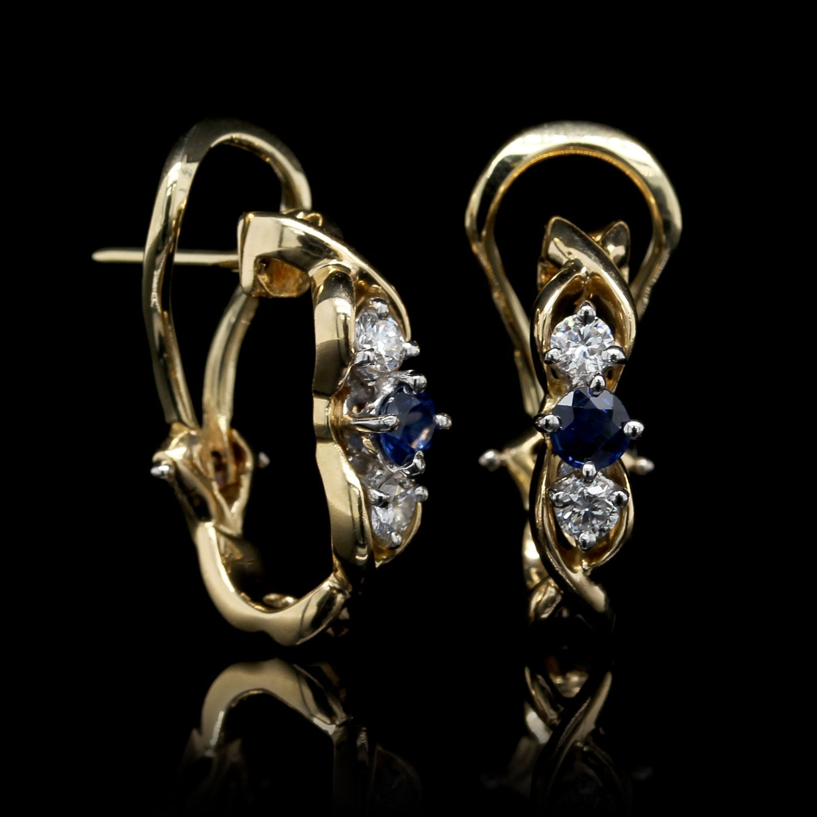 McTeigue 18K Yellow Gold and Platinum Estate Sapphire and Diamond Earrings