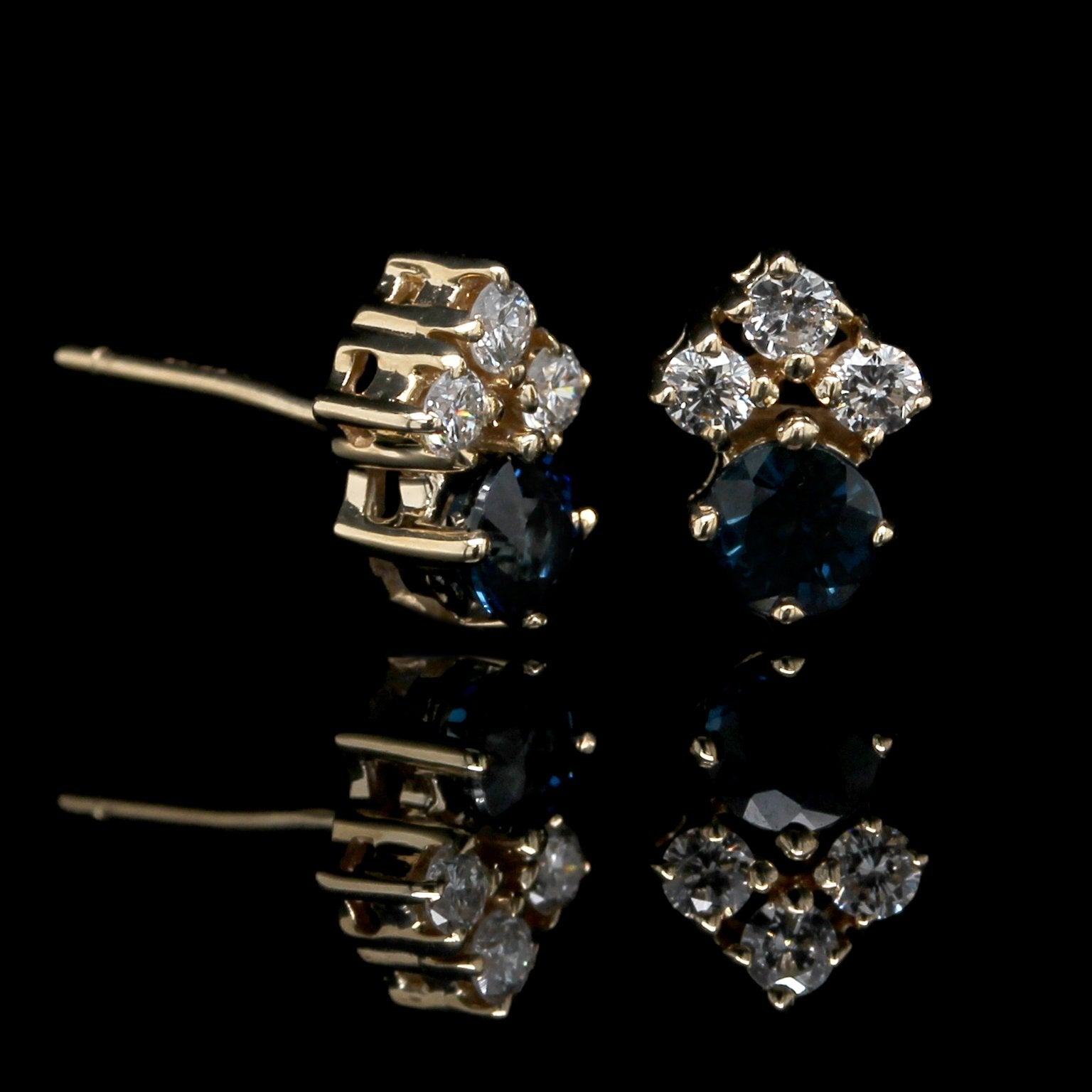 14K Yellow Gold Estate Sapphire and Diamond Earrings