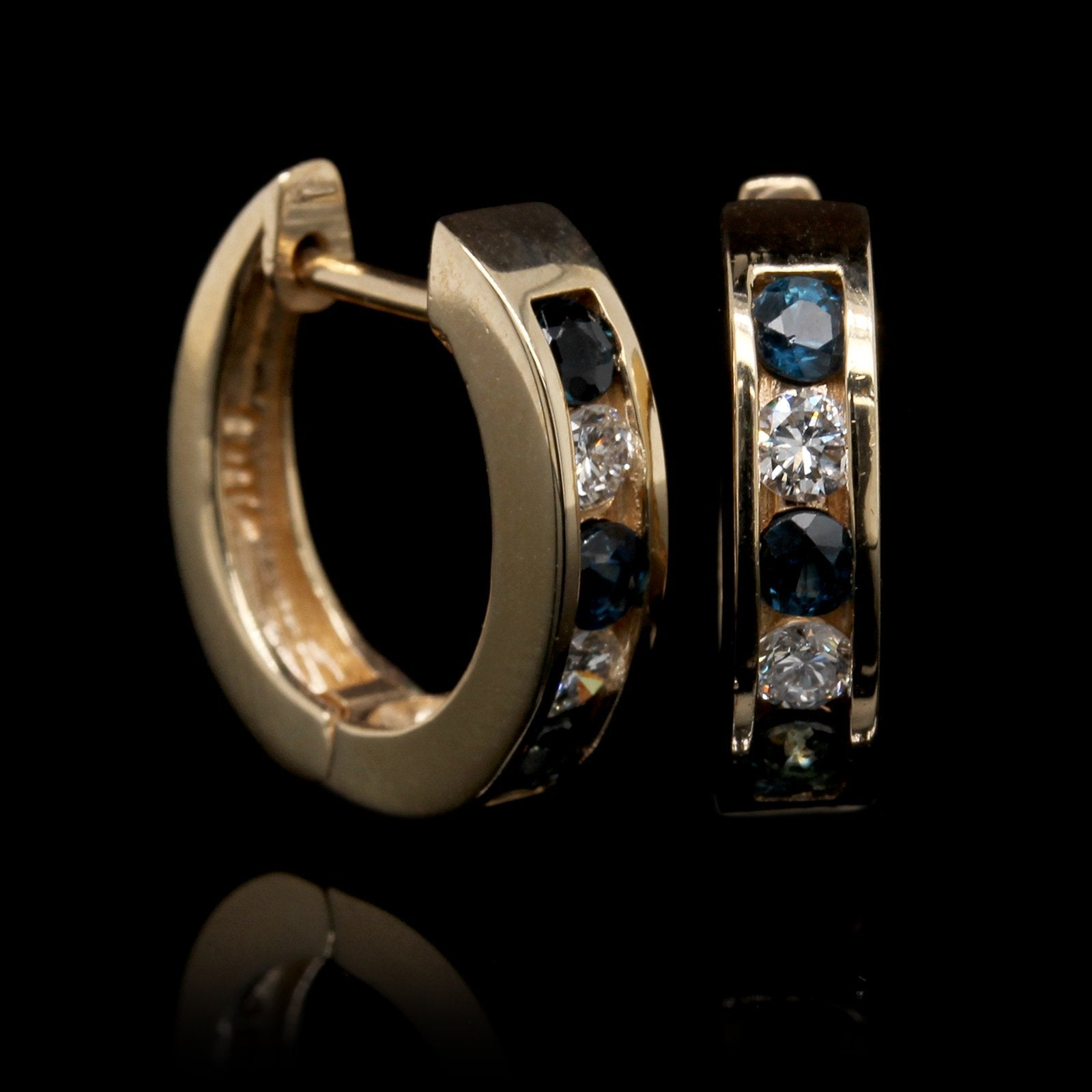 14K Yellow Gold Estate Sapphire and Diamond Hoops