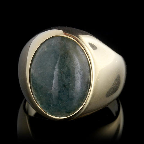 18K Yellow Gold Jade Ring