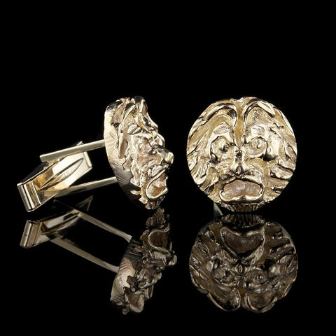 14K Yellow Gold Lion Head Cufflinks