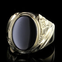 14K Yellow Gold Onyx Ring