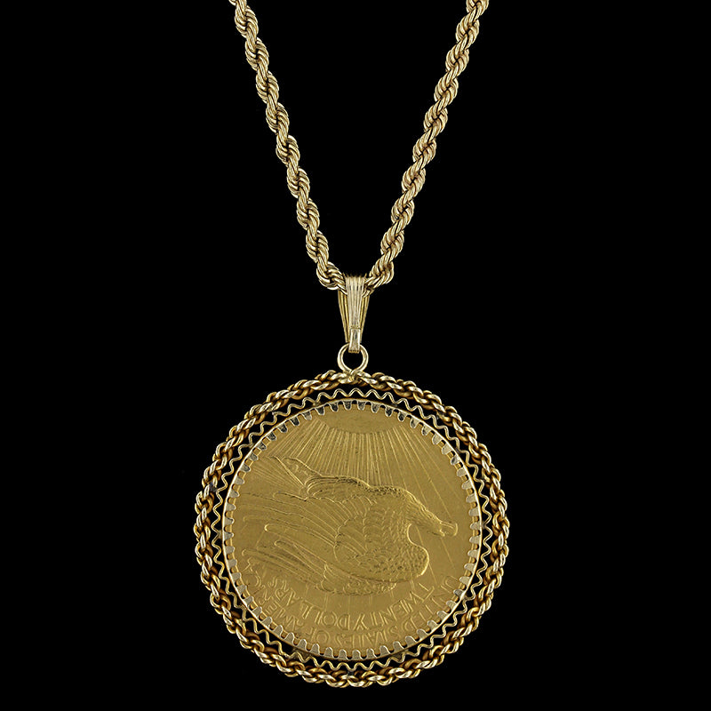 Genuine twenty dollar 22k yellow gold coin pendant on a 14k gold genuine twenty dollar 22k yellow gold coin pendant on a 14k gold chain aloadofball Image collections