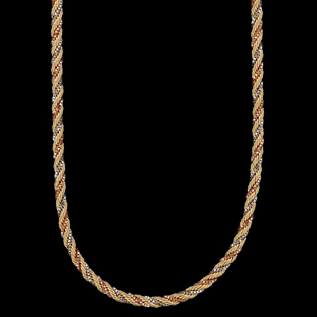 18K Tricolor Gold Estate Rope Chain