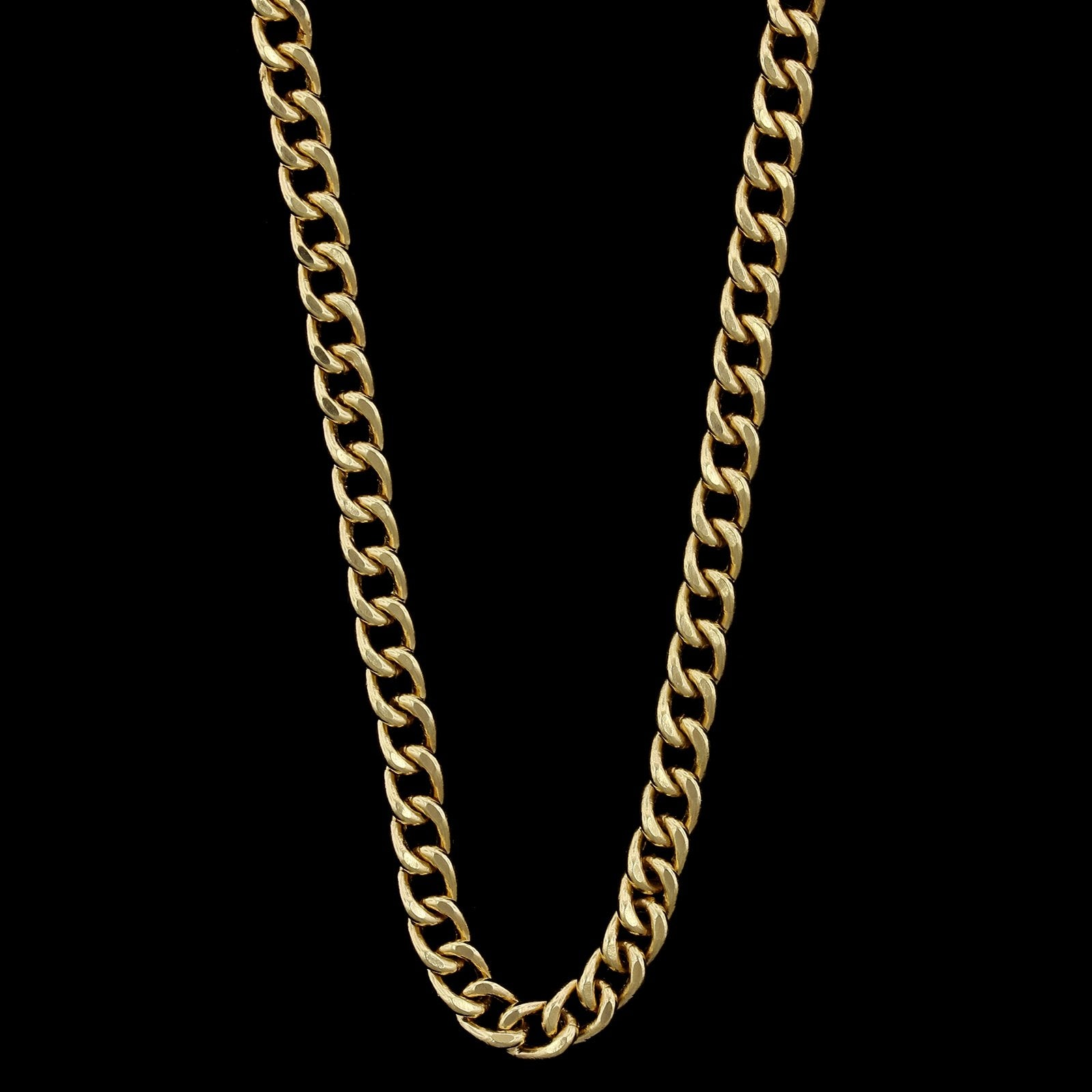 14K Yellow Gold Estate Hollow Curb Link Chain