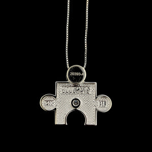 14K White Gold Estate Diamond 'Soulmate' Puzzle Piece Pendant