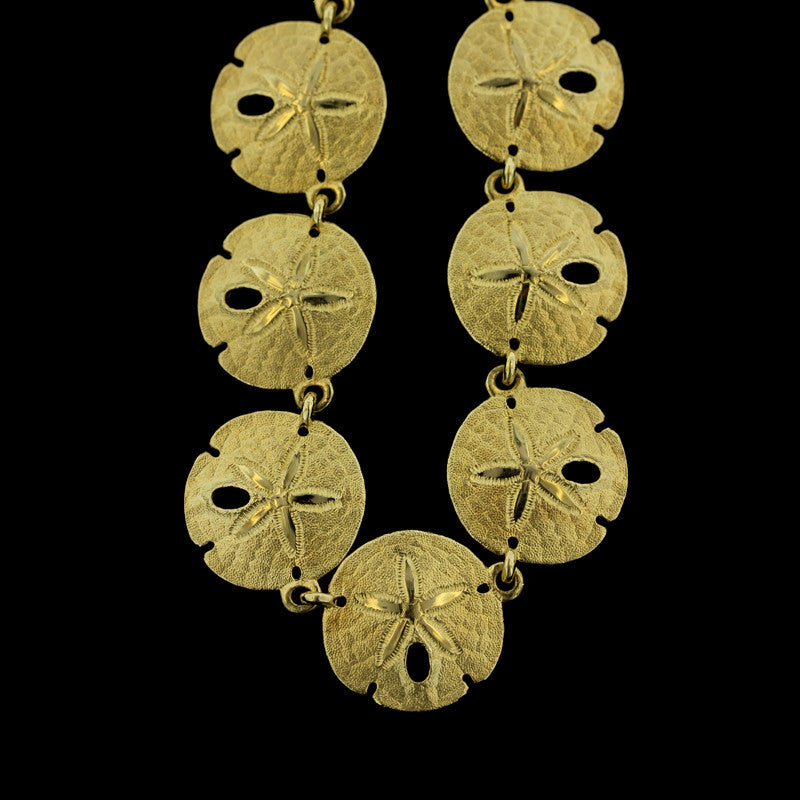 14K Yellow Gold Sand Dollar Necklace
