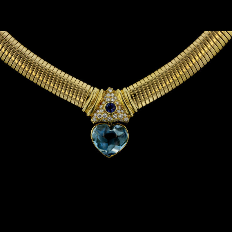 14K Yellow Gold Blue Topaz, Sapphire, and Diamond Snake Necklace