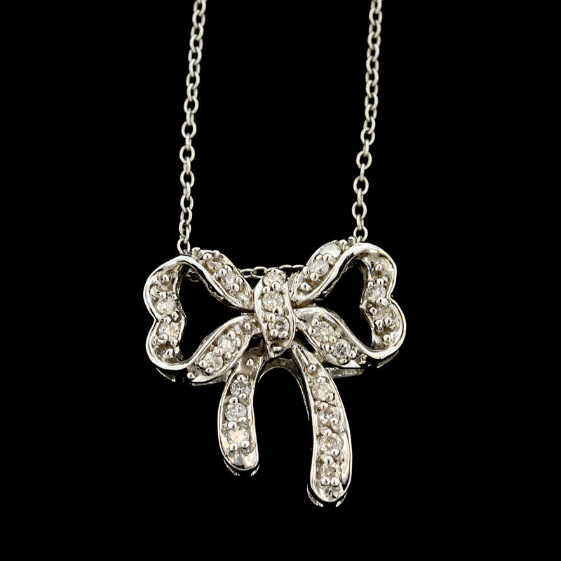 14K White Gold Estate Diamond Bow Pendant