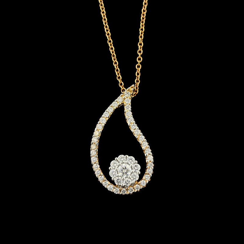 18K Two-Tone Gold Diamond Paisley Pendant