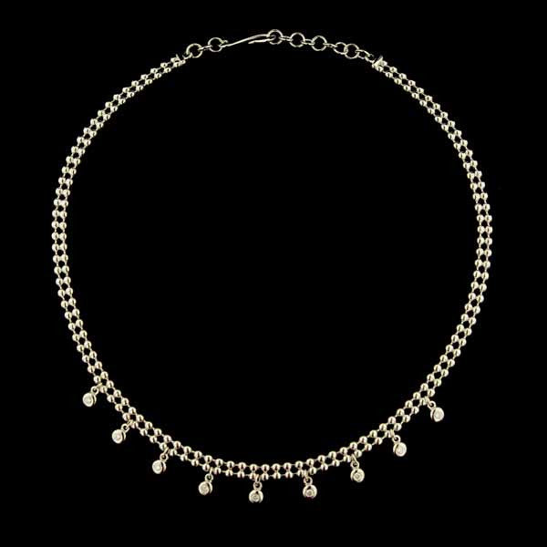 18K White Gold Bezel Set Diamond Necklace