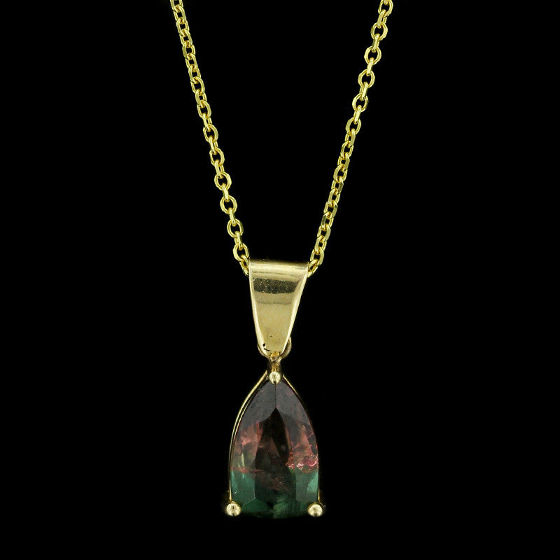 14K Yellow Gold Bicolor Tourmaline Pendant