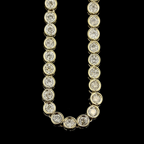 14K Yellow Gold Diamond Line Necklace
