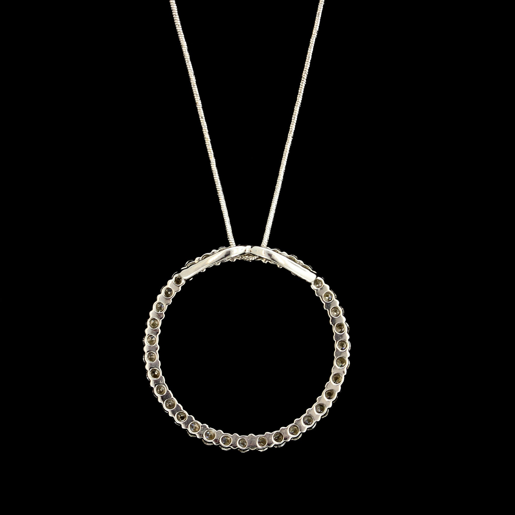 14K White Gold Estate Diamond Circle Pendant 1.00 CTW