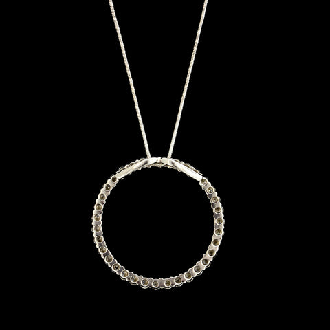 14K White Gold Diamond Circle Pendant 1.00 CTW
