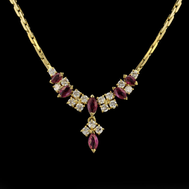 18K Yellow Gold Ruby and Diamond Necklace