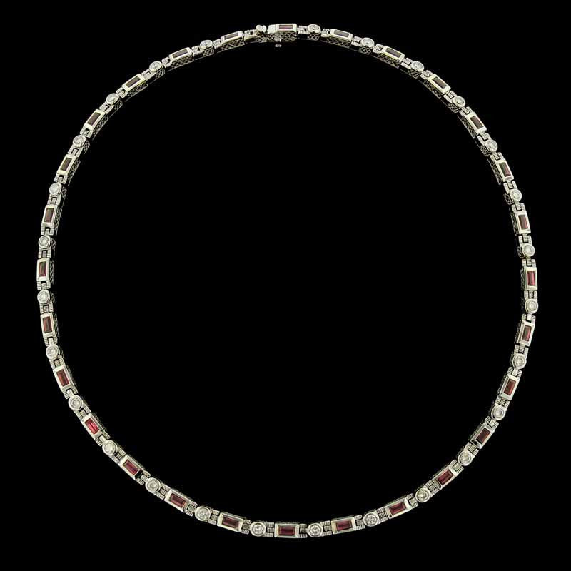 18K White Gold Ruby and Diamond Necklace