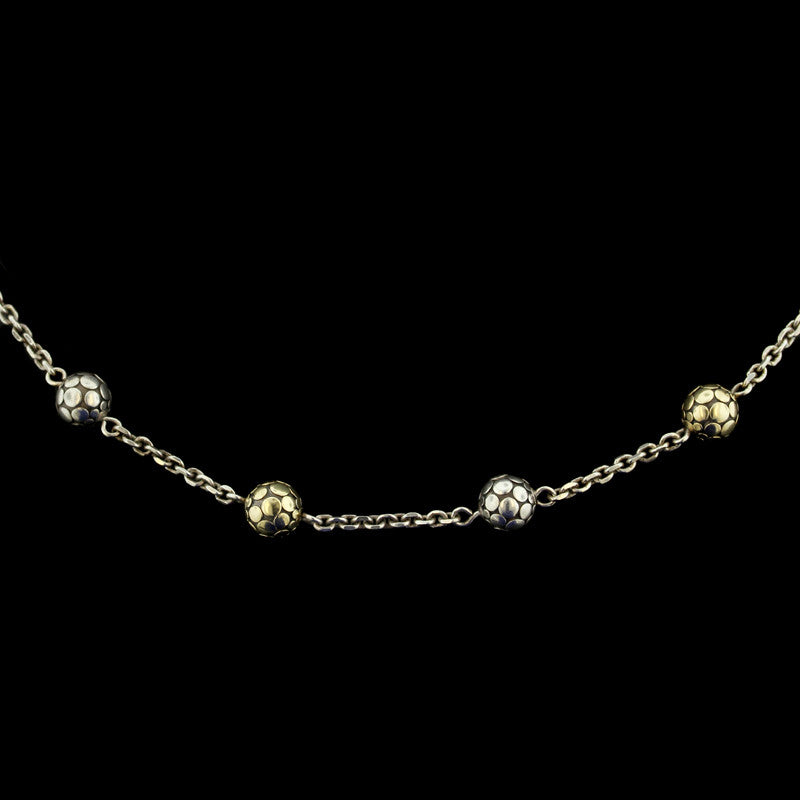 John Hardy Sterling Silver and 18K Yellow Gold Dot Bead Necklace
