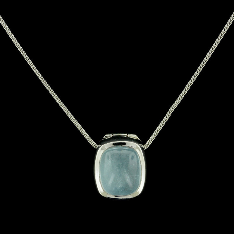 14K White Gold Chalcedony Necklace/Enhancer
