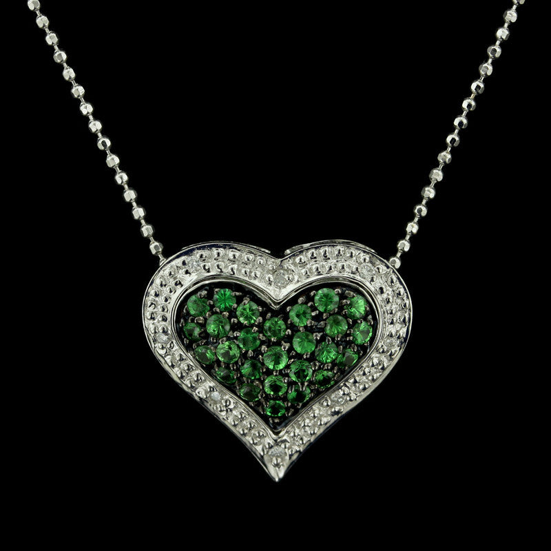 14K White Gold Tsavorite and Diamond Heart Pendant
