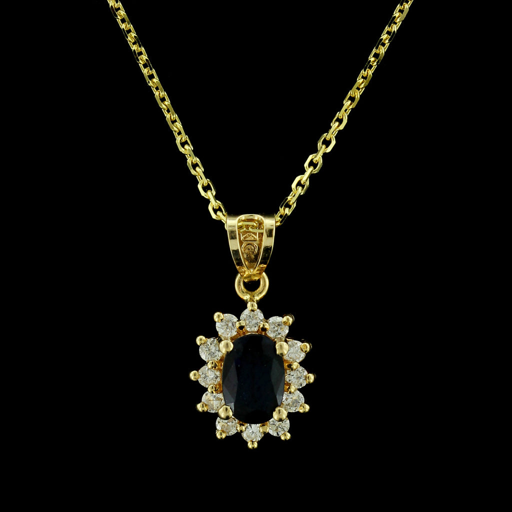 14K Yellow Gold Sapphire and Diamond Pendant