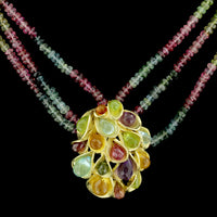 18K Yellow Gold Tourmaline Bead and Gem-set Necklace