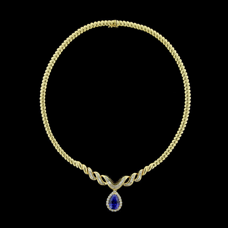 18K Yellow Gold Tanzanite and Diamond Necklace