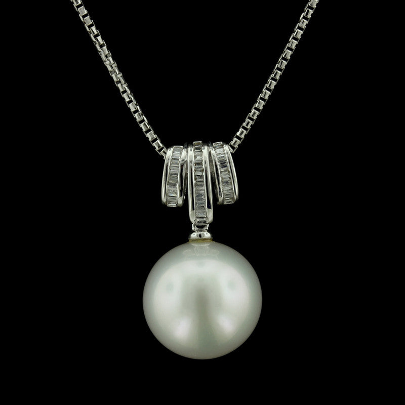 18K White Gold South Sea Pearl and Diamond Pendant