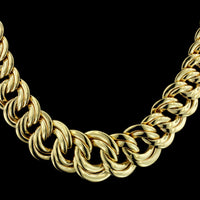 14K Yellow Gold Graduated Curb Link Necklace