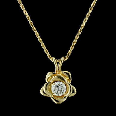 14K Yellow Gold Diamond Solitaire Diamond Flower Pendant