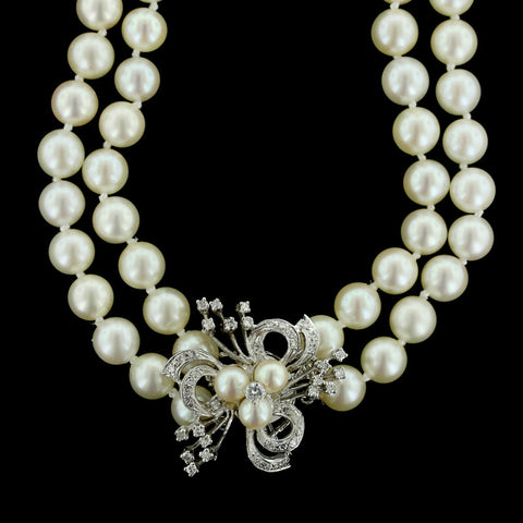 14K White Diamond and Cultured Pearl Necklace