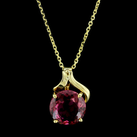14K Yellow Gold Pink Tourmalime Pendant