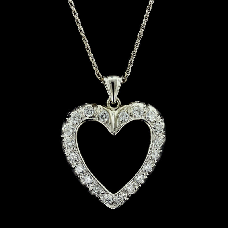 14K White Gold Open Heart Diamond Pendant