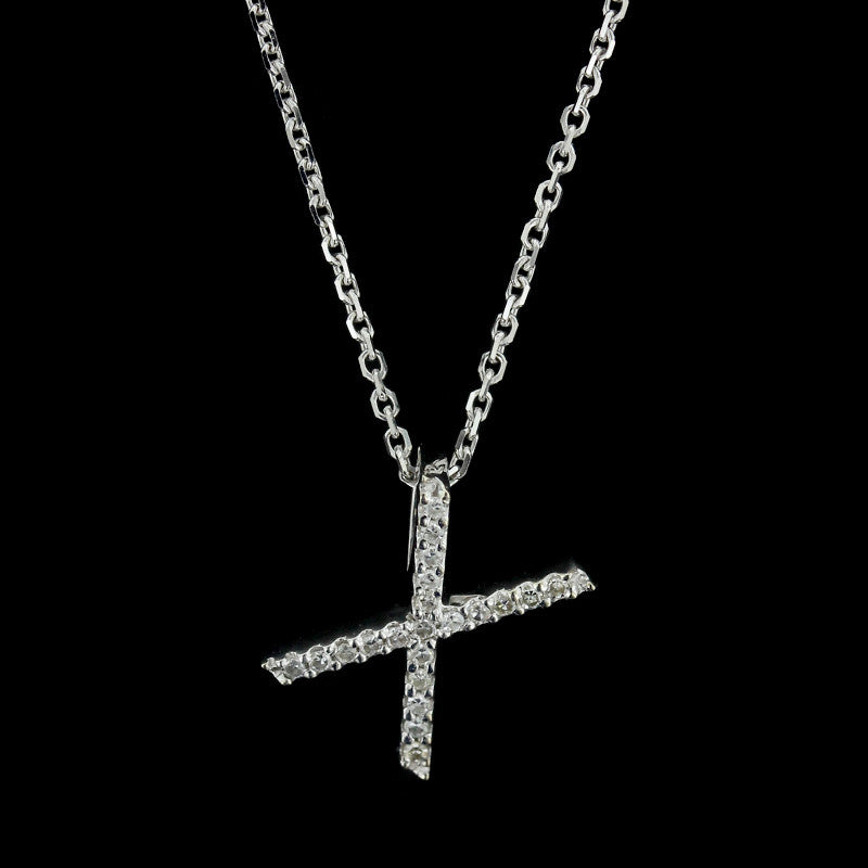 14K White Gold Diamond X Pendant