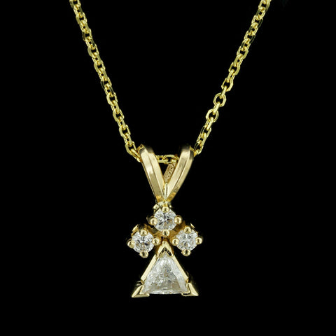 14K Yellow Gold Diamond Guardian Angel Pendant