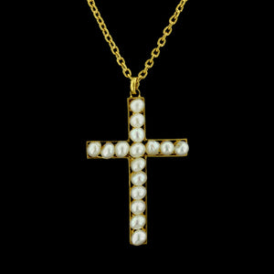 22K Yellow Gold Pearl Cross