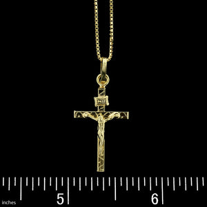18K Yellow Gold Crucifix Cross