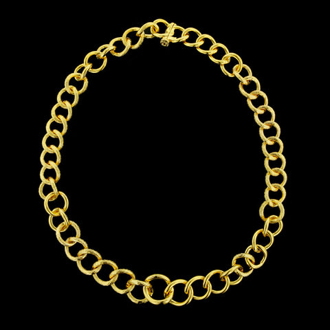 22K Yellow Gold Graduating Link Necklace