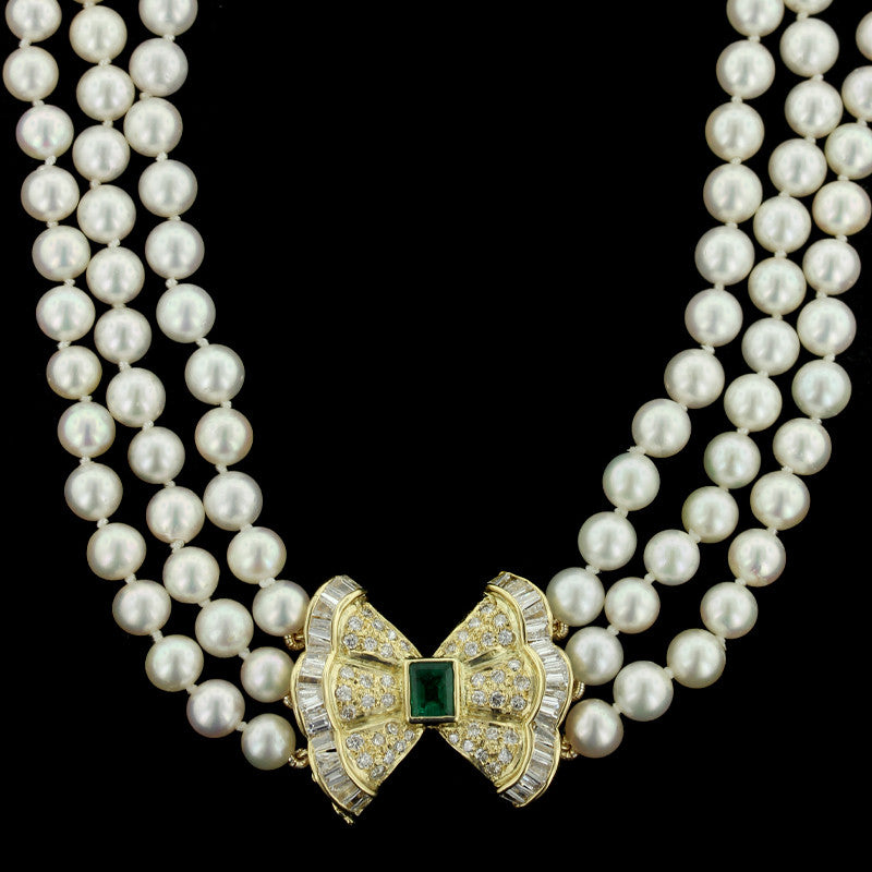 18K Yellow Gold Cultured Pearl, Emerald and Diamond Necklace