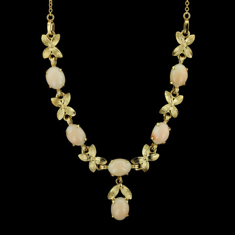 14K Yellow Gold Coral Necklace