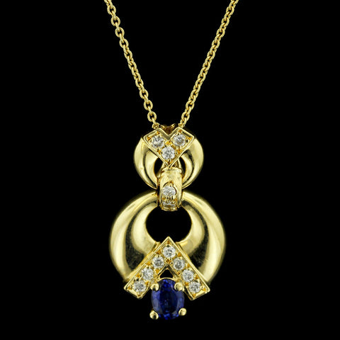 18K Yellow Gold Sapphire and Diamond Pendant