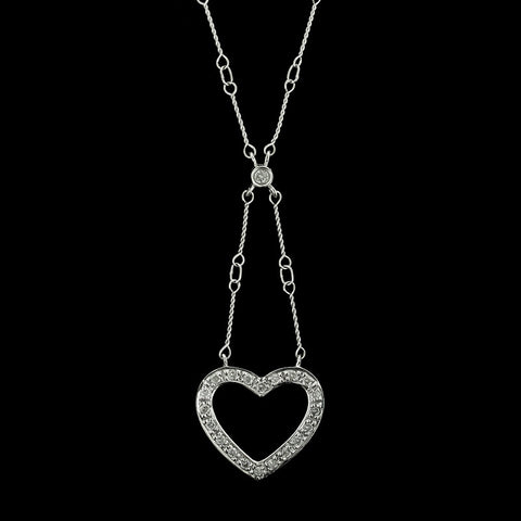 18K White Gold Diamond Open Heart Pendant