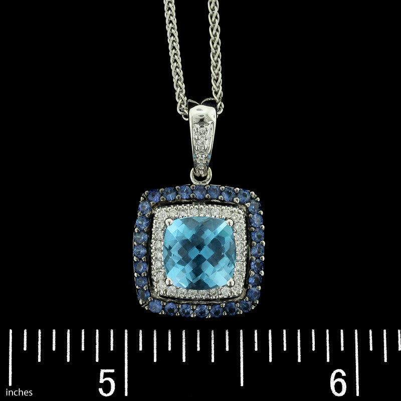 Le Vian 14K White Gold Blue Topaz, Sapphire and Diamond Pendant