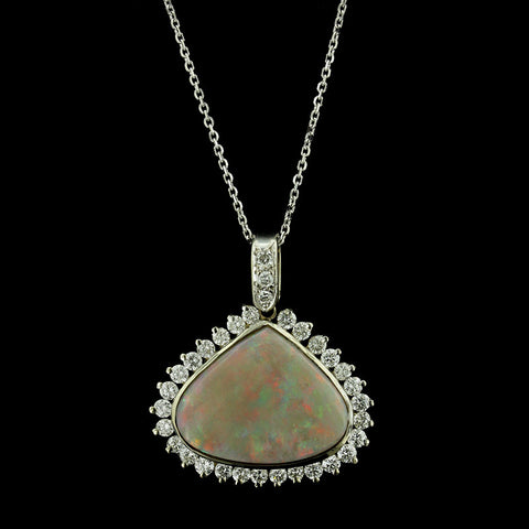 18K White Gold Opal and Diamond Pendant