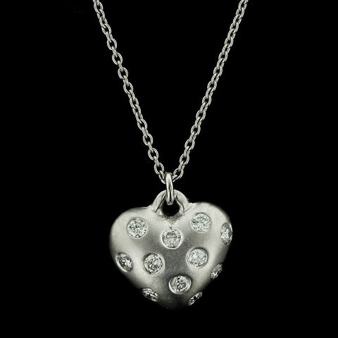 18K White Gold Diamond Heart Pendant