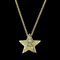 14K Yellow Gold Diamond Star Pendant