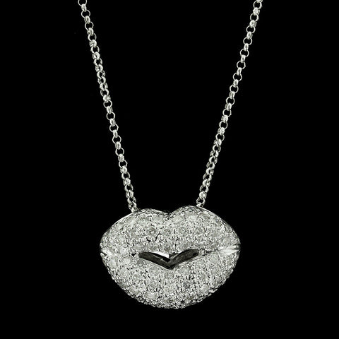 18K White Gold Diamond Lips Pendant