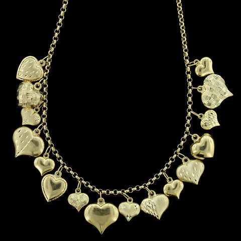 14K Yellow Gold Puffed Heart Charm Necklace