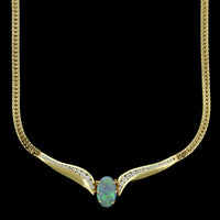 14K Yellow Gold Black Opal and Diamond Necklace